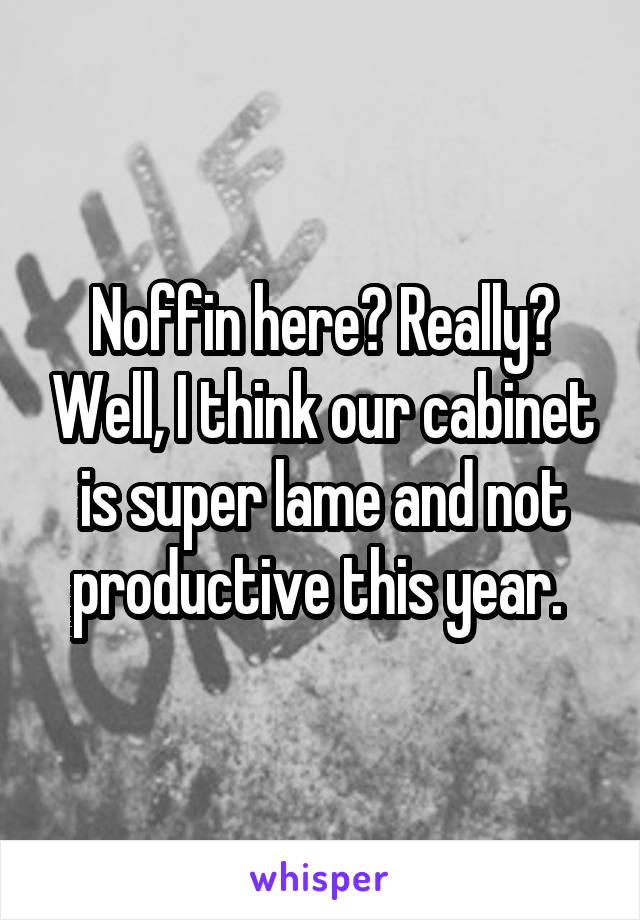Noffin here? Really? Well, I think our cabinet is super lame and not productive this year.