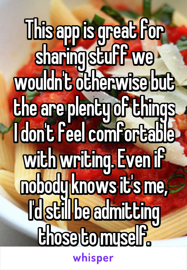 This app is great for sharing stuff we wouldn't otherwise but the are plenty of things I don't feel comfortable with writing. Even if nobody knows it's me, I'd still be admitting those to myself.