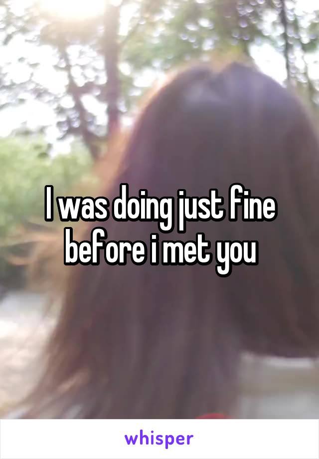 I was doing just fine before i met you