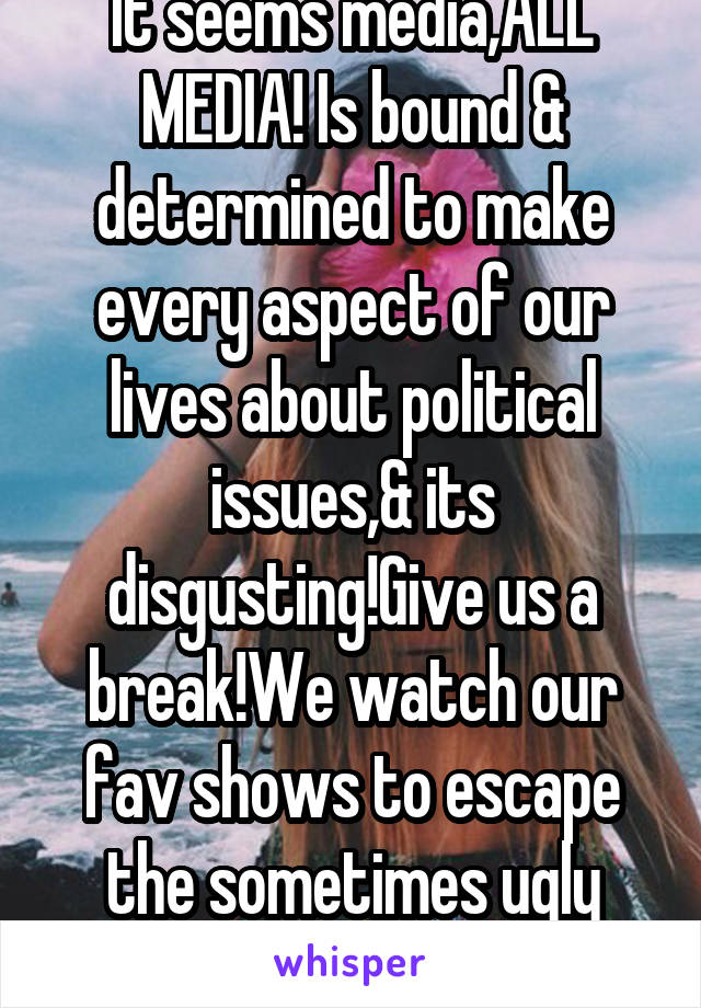 It seems media,ALL MEDIA! Is bound & determined to make every aspect of our lives about political issues,& its disgusting!Give us a break!We watch our fav shows to escape the sometimes ugly reality!