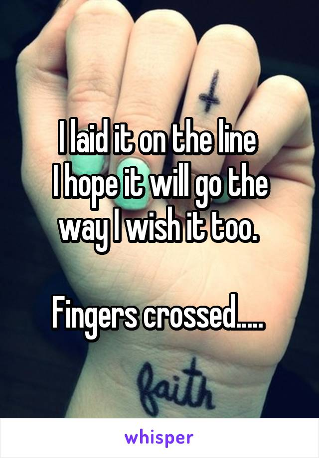 I laid it on the line  I hope it will go the way I wish it too.   Fingers crossed.....