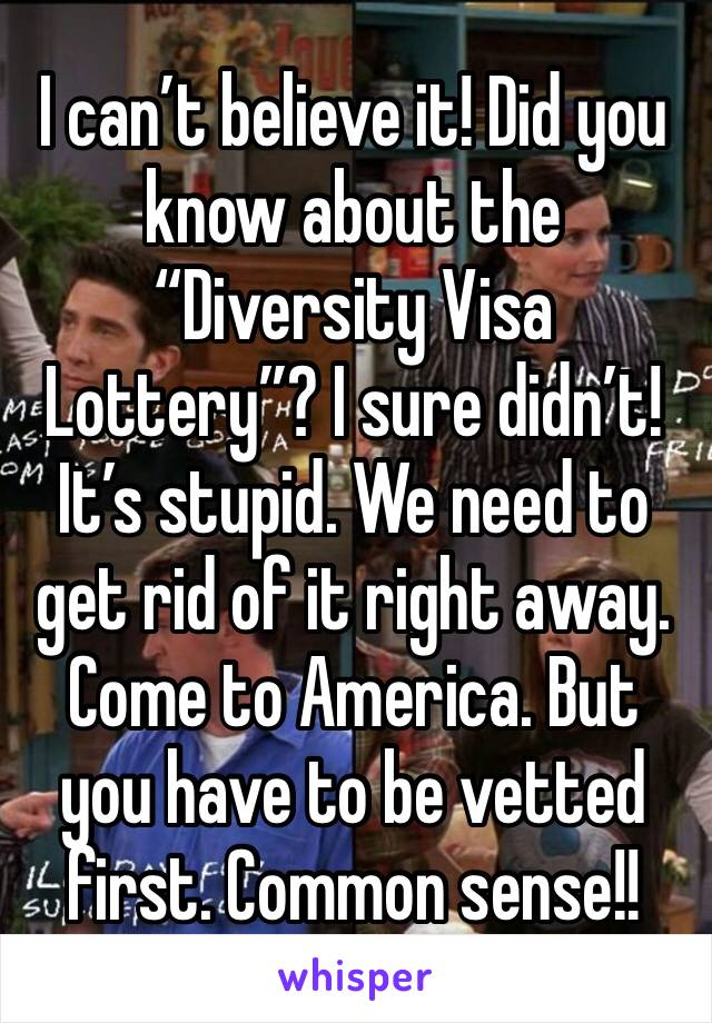 """I can't believe it! Did you know about the """"Diversity Visa Lottery""""? I sure didn't! It's stupid. We need to get rid of it right away. Come to America. But you have to be vetted first. Common sense!!"""