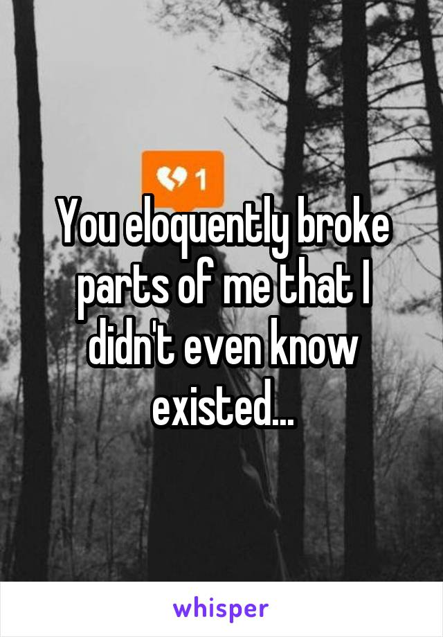 You eloquently broke parts of me that I didn't even know existed...