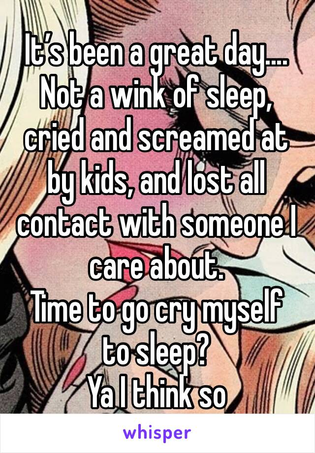 It's been a great day.... Not a wink of sleep, cried and screamed at by kids, and lost all contact with someone I care about.  Time to go cry myself to sleep?  Ya I think so