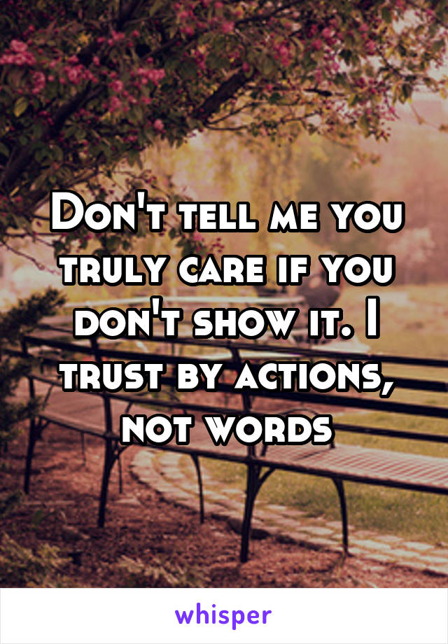 Don't tell me you truly care if you don't show it. I trust by actions, not words