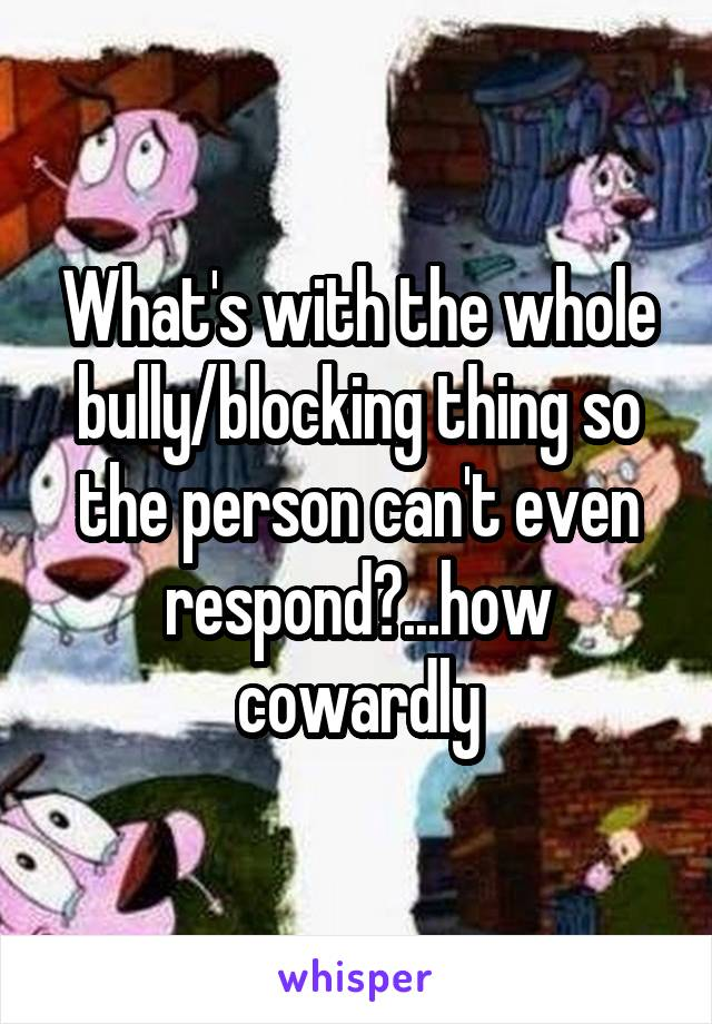 What's with the whole bully/blocking thing so the person can't even respond?...how cowardly
