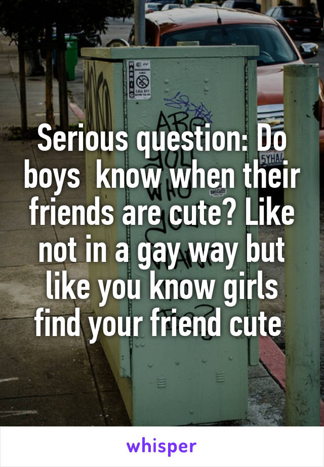 Serious question: Do boys  know when their friends are cute? Like not in a gay way but like you know girls find your friend cute