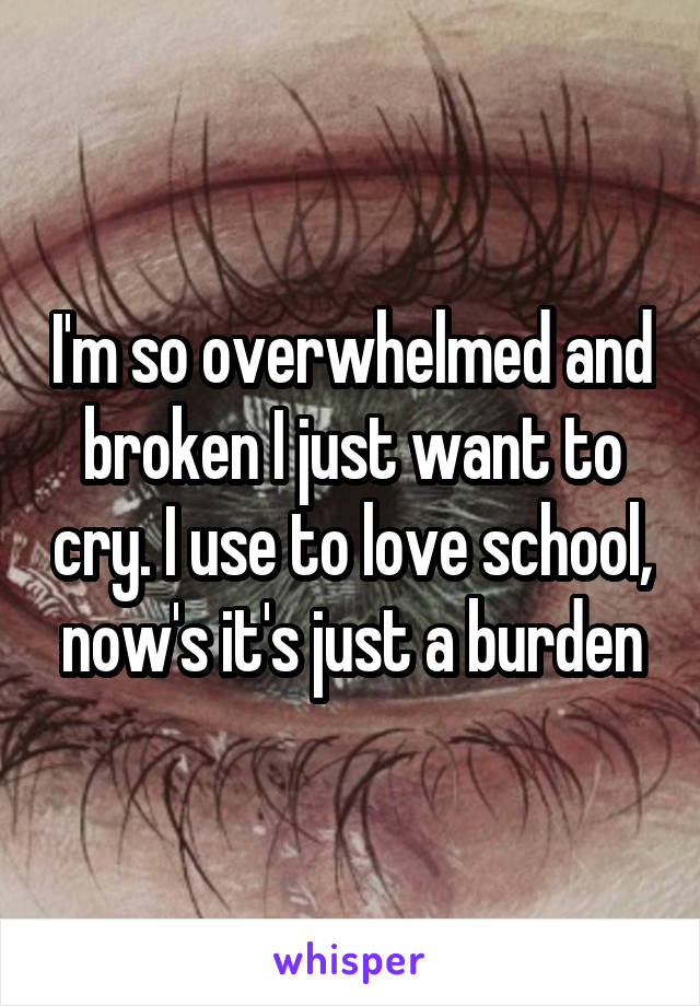 I'm so overwhelmed and broken I just want to cry. I use to love school, now's it's just a burden