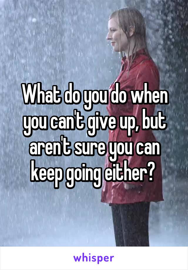 What do you do when you can't give up, but aren't sure you can keep going either?