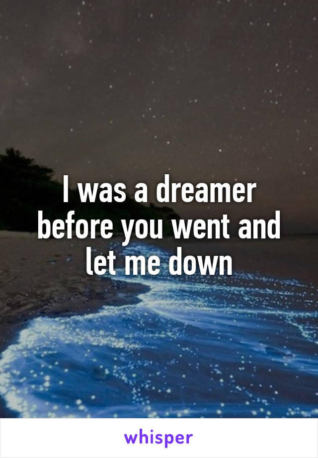 I was a dreamer before you went and let me down