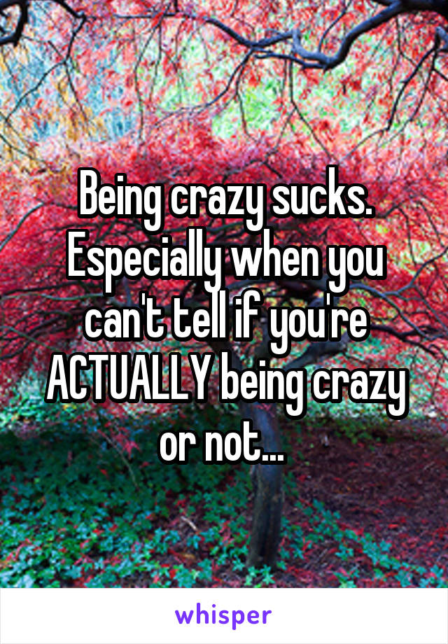 Being crazy sucks. Especially when you can't tell if you're ACTUALLY being crazy or not...