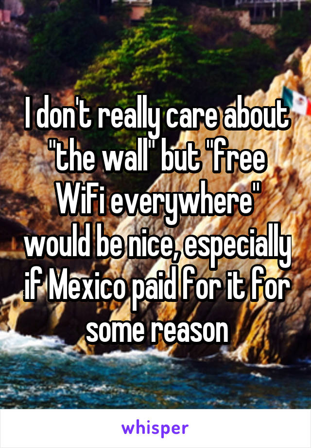 """I don't really care about """"the wall"""" but """"free WiFi everywhere"""" would be nice, especially if Mexico paid for it for some reason"""