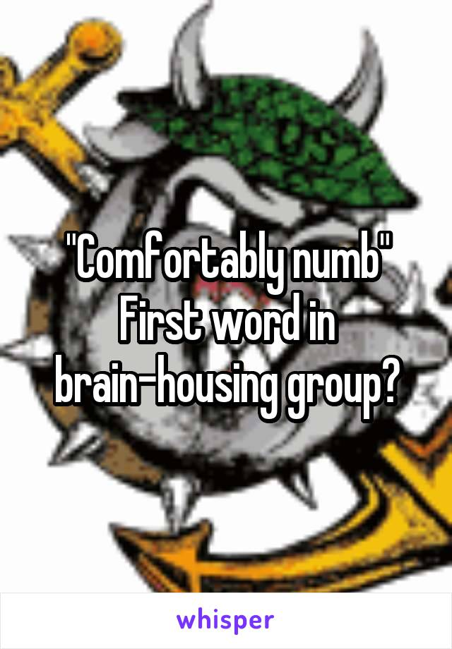 """Comfortably numb"" First word in brain-housing group?"