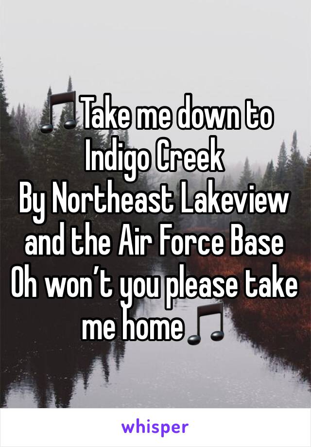 🎵Take me down to Indigo Creek By Northeast Lakeview and the Air Force Base Oh won't you please take me home🎵