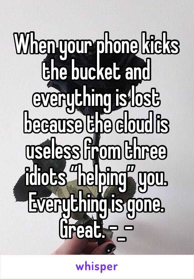 "When your phone kicks the bucket and everything is lost because the cloud is useless from three idiots ""helping"" you. Everything is gone. Great. -_-"
