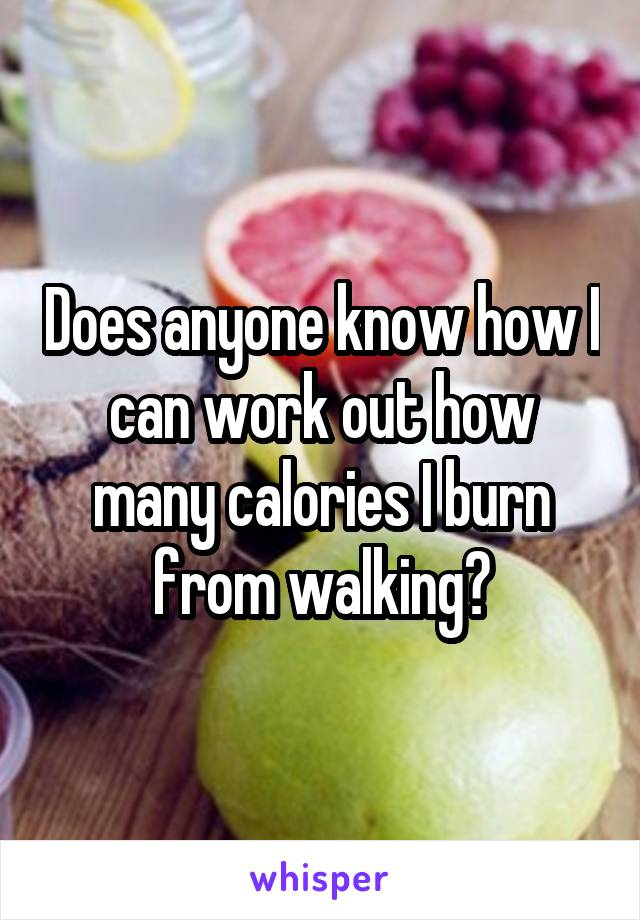 Does anyone know how I can work out how many calories I burn from walking?