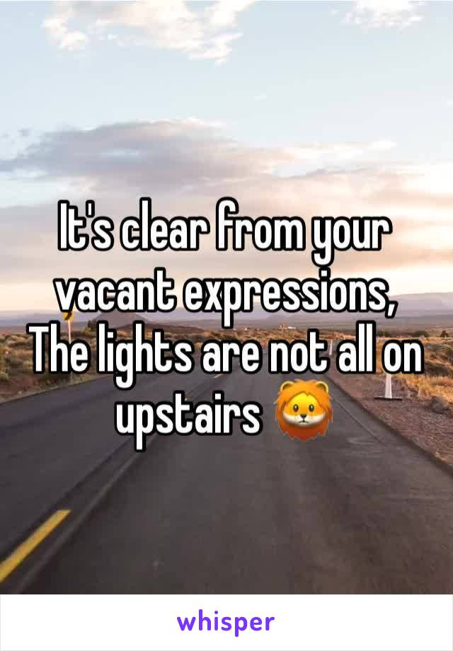 It's clear from your vacant expressions, The lights are not all on upstairs 🦁