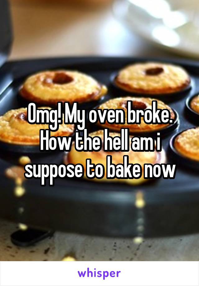 Omg! My oven broke. How the hell am i suppose to bake now