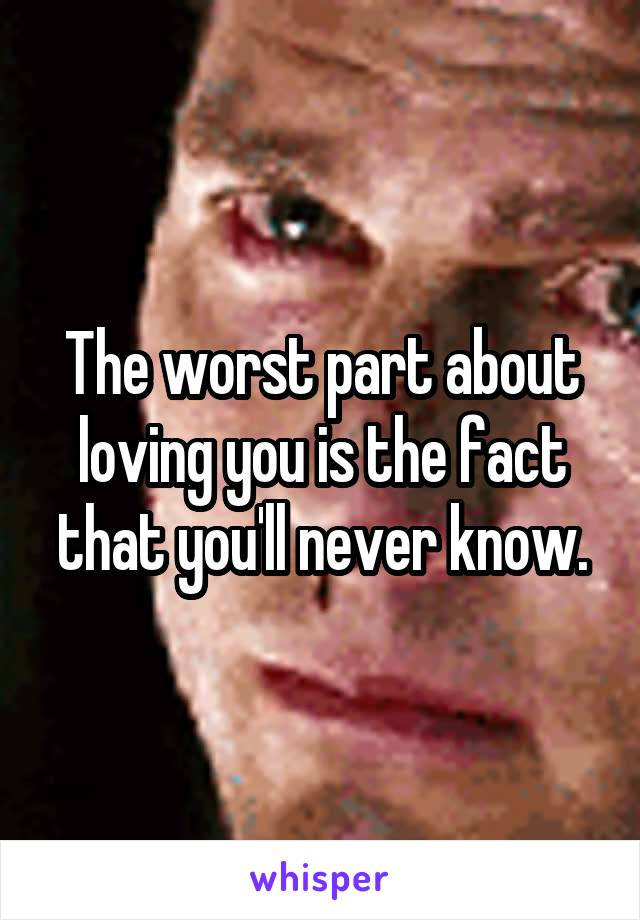 The worst part about loving you is the fact that you'll never know.