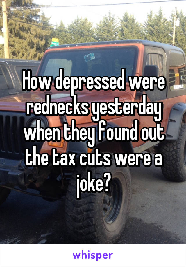 How depressed were rednecks yesterday when they found out the tax cuts were a joke?