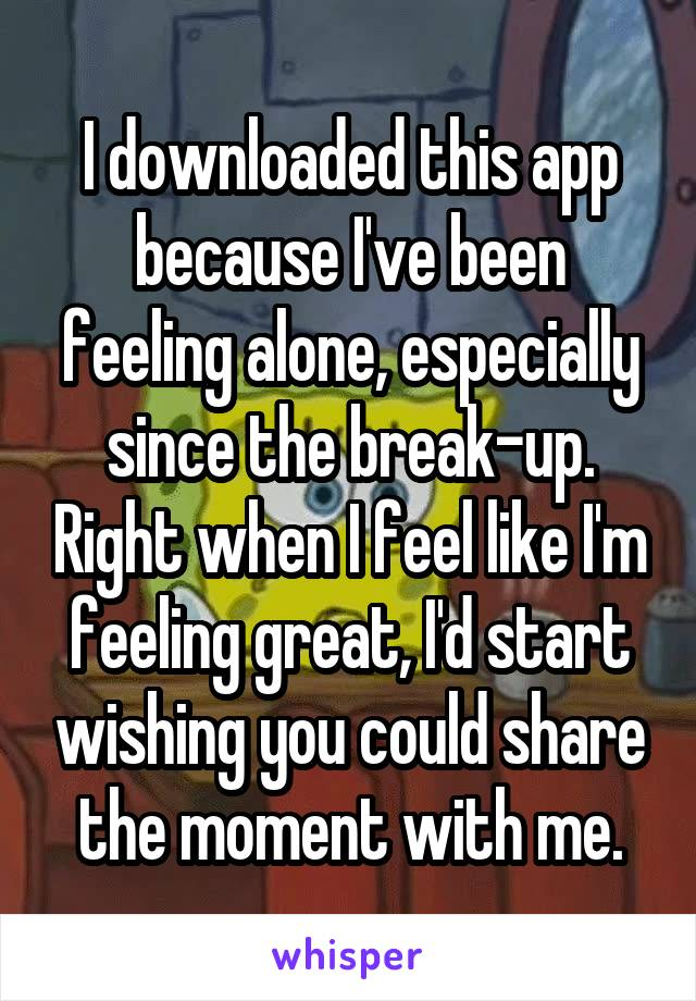 I downloaded this app because I've been feeling alone, especially since the break-up. Right when I feel like I'm feeling great, I'd start wishing you could share the moment with me.