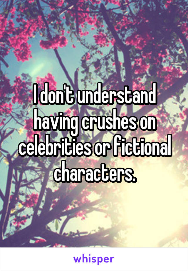 I don't understand having crushes on celebrities or fictional characters.