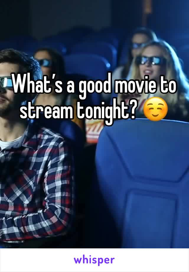 What's a good movie to stream tonight? ☺️
