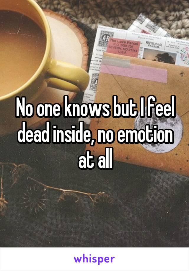 No one knows but I feel dead inside, no emotion at all