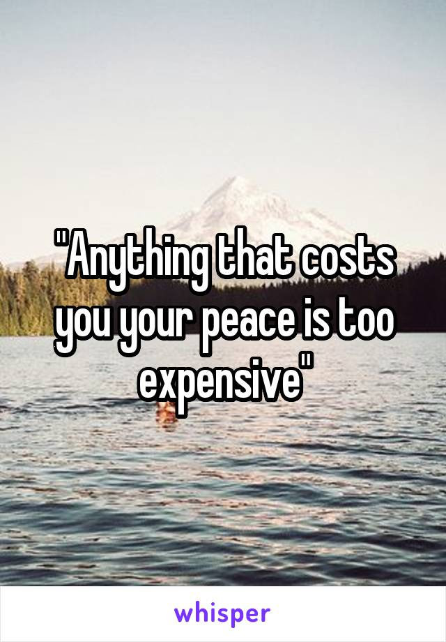 """""""Anything that costs you your peace is too expensive"""""""