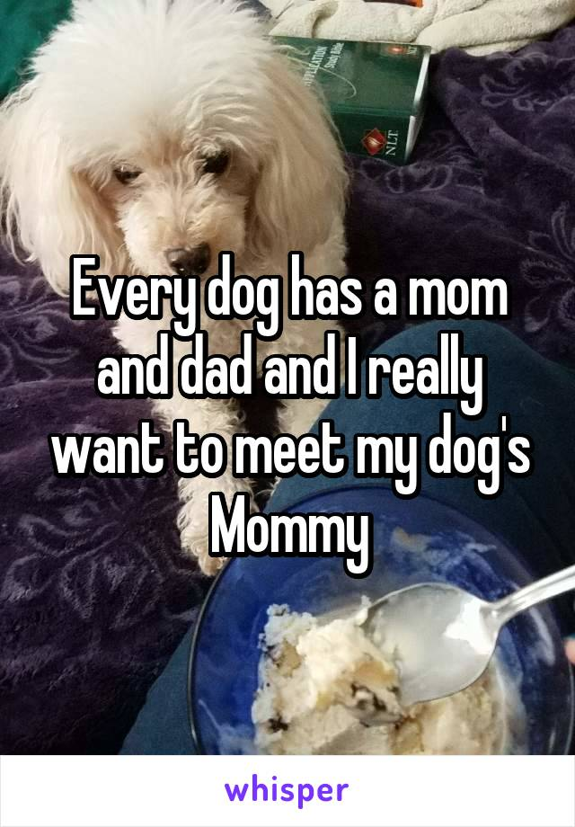 Every dog has a mom and dad and I really want to meet my dog's Mommy