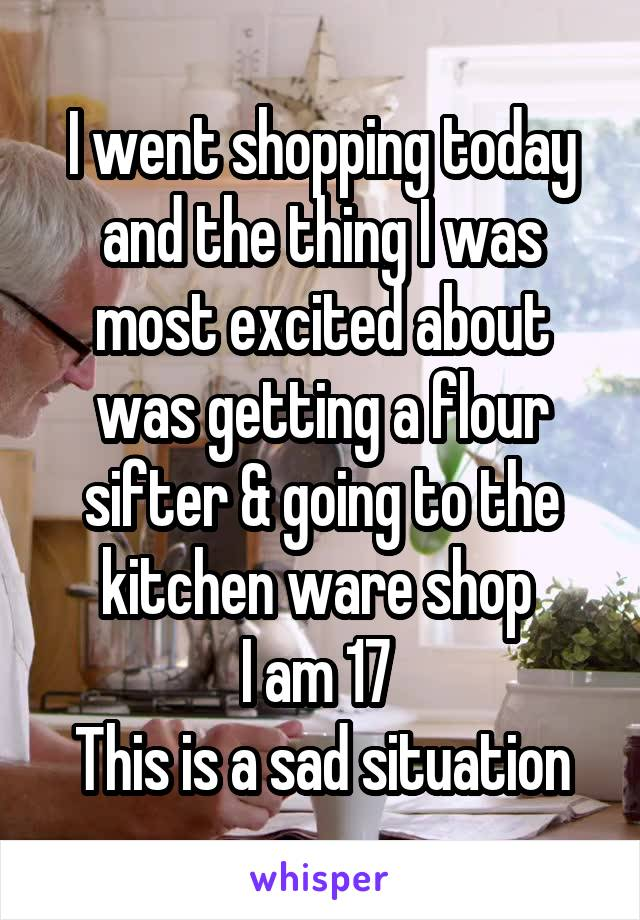 I went shopping today and the thing I was most excited about was getting a flour sifter & going to the kitchen ware shop  I am 17  This is a sad situation