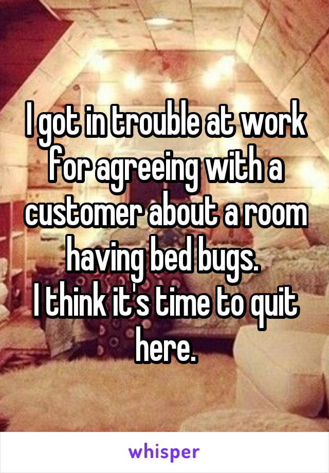 I got in trouble at work for agreeing with a customer about a room having bed bugs.  I think it's time to quit here.
