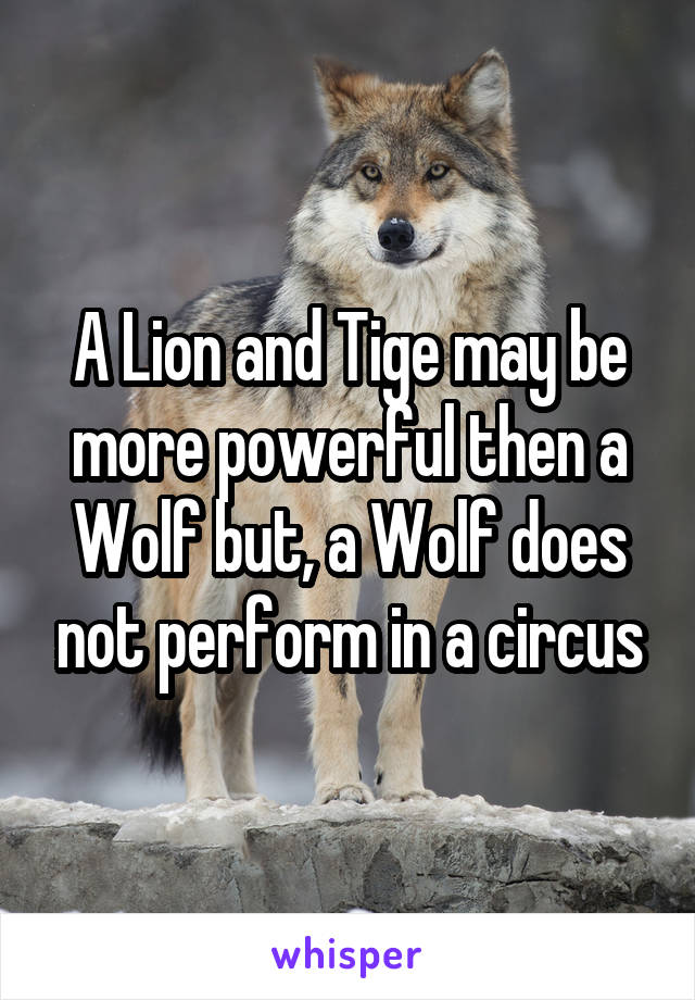 A Lion and Tige may be more powerful then a Wolf but, a Wolf does not perform in a circus