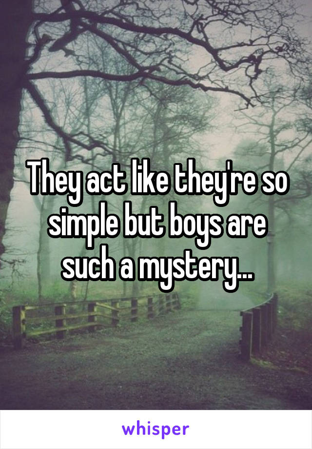 They act like they're so simple but boys are such a mystery...