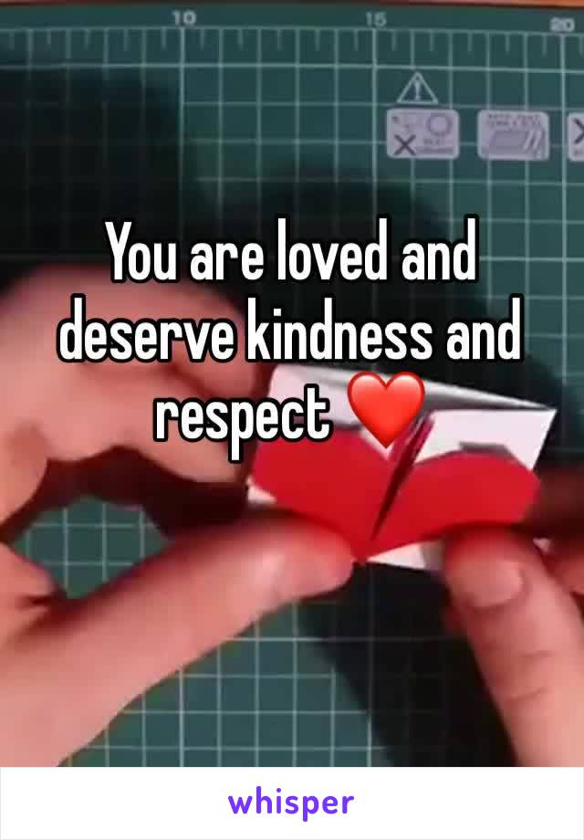 You are loved and deserve kindness and respect ❤️