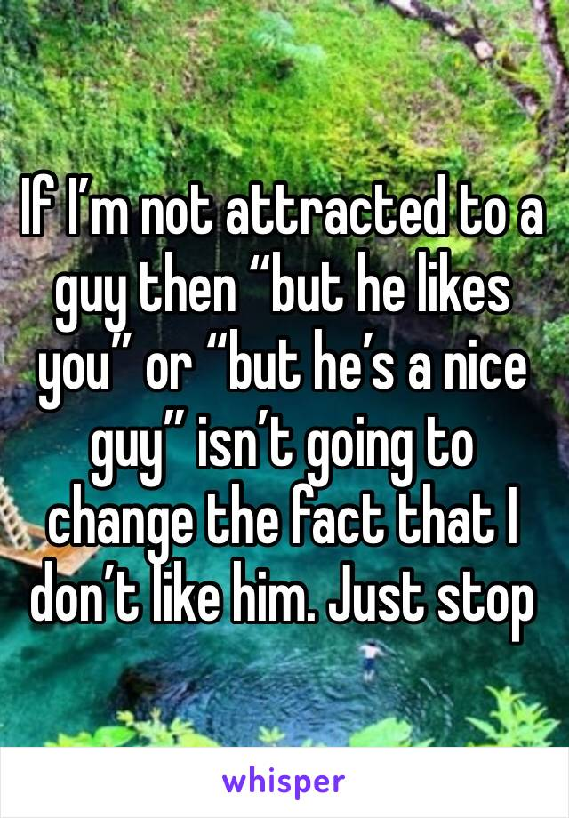"If I'm not attracted to a guy then ""but he likes you"" or ""but he's a nice guy"" isn't going to change the fact that I don't like him. Just stop"