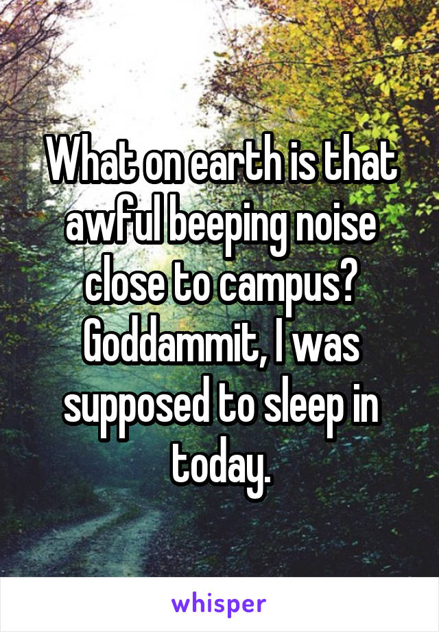 What on earth is that awful beeping noise close to campus? Goddammit, I was supposed to sleep in today.