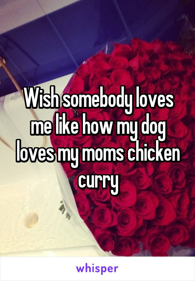 Wish somebody loves me like how my dog loves my moms chicken curry