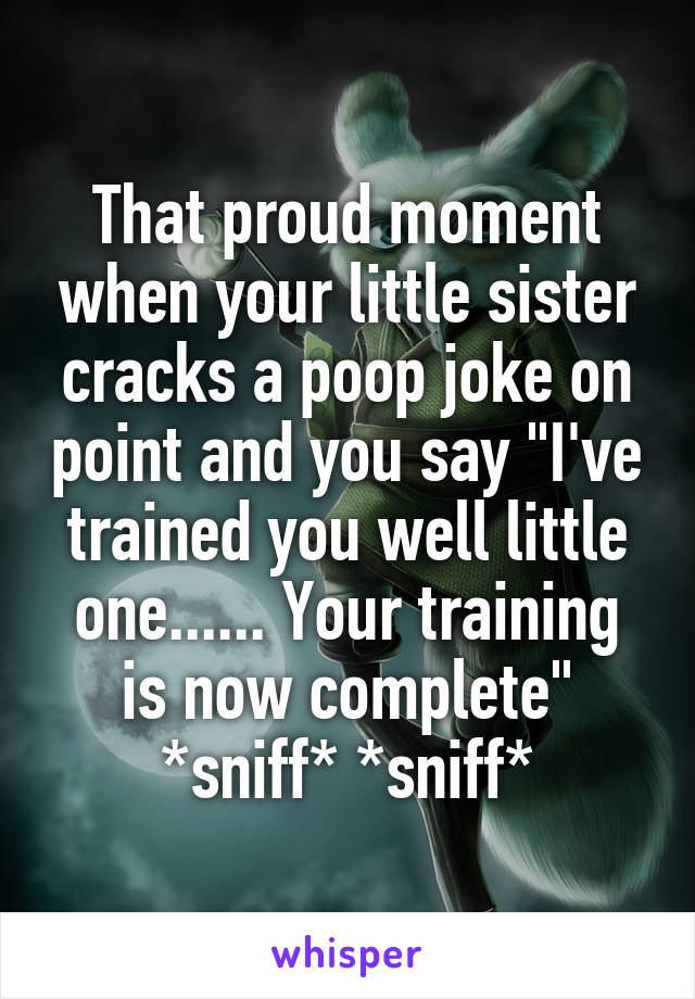"That proud moment when your little sister cracks a poop joke on point and you say ""I've trained you well little one...... Your training is now complete"" *sniff* *sniff*"