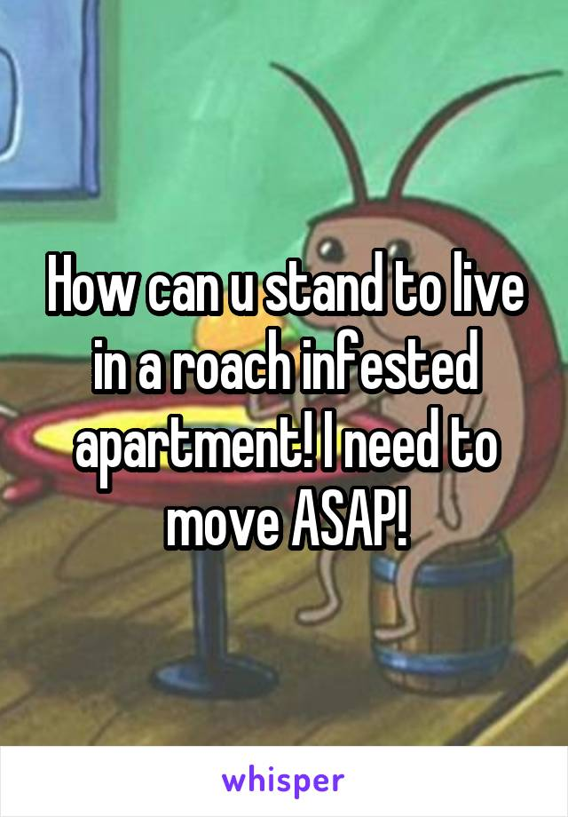 How can u stand to live in a roach infested apartment! I need to move ASAP!