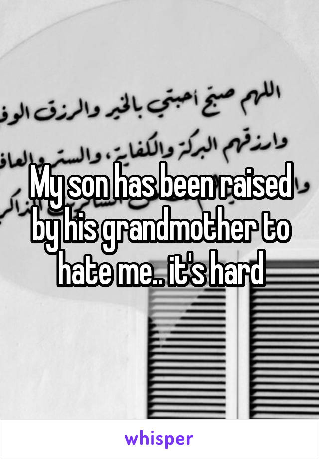 My son has been raised by his grandmother to hate me.. it's hard