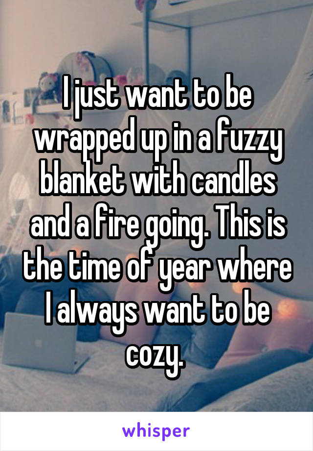 I just want to be wrapped up in a fuzzy blanket with candles and a fire going. This is the time of year where I always want to be cozy.