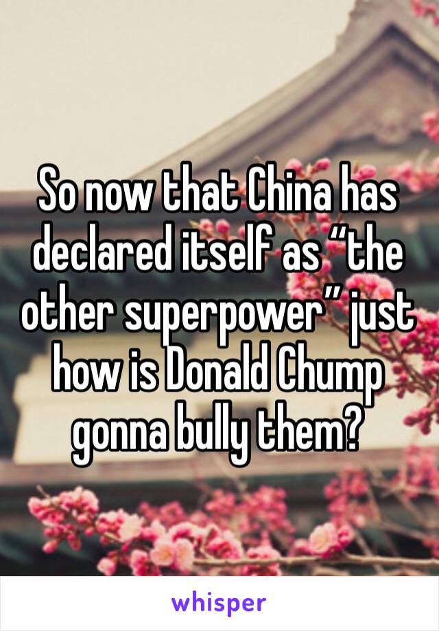 """So now that China has declared itself as """"the other superpower"""" just how is Donald Chump gonna bully them?"""