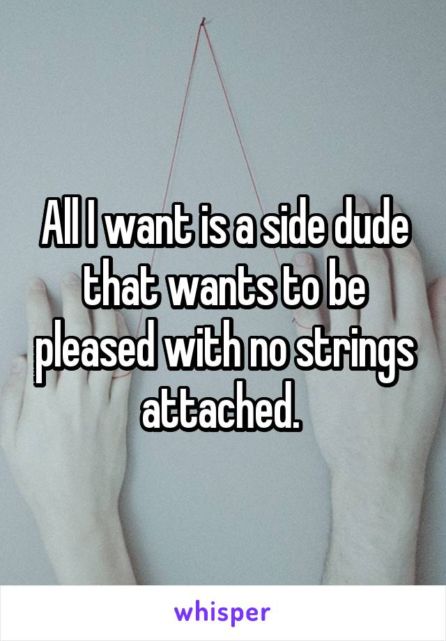 All I want is a side dude that wants to be pleased with no strings attached.