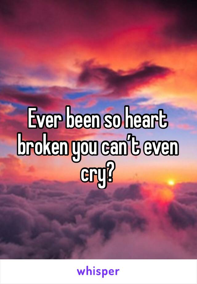 Ever been so heart broken you can't even cry?