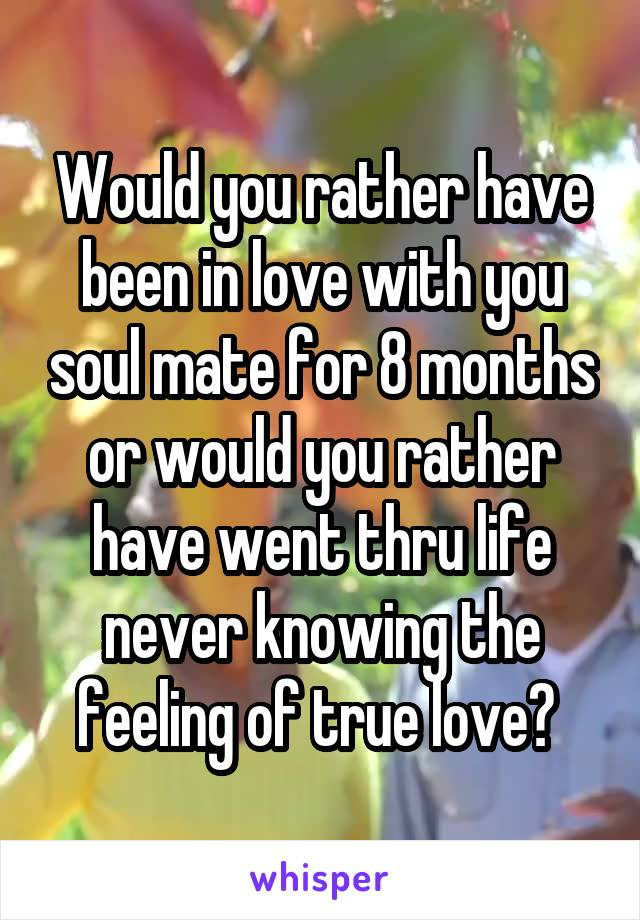 Would you rather have been in love with you soul mate for 8 months or would you rather have went thru life never knowing the feeling of true love?