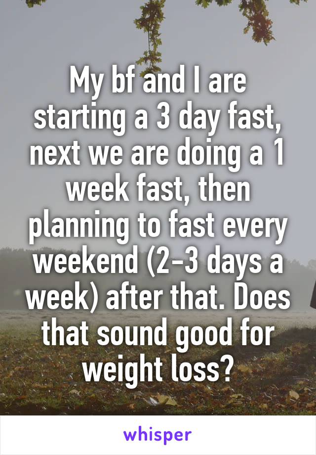 My bf and I are starting a 3 day fast, next we are doing a 1 week fast, then planning to fast every weekend (2-3 days a week) after that. Does that sound good for weight loss?