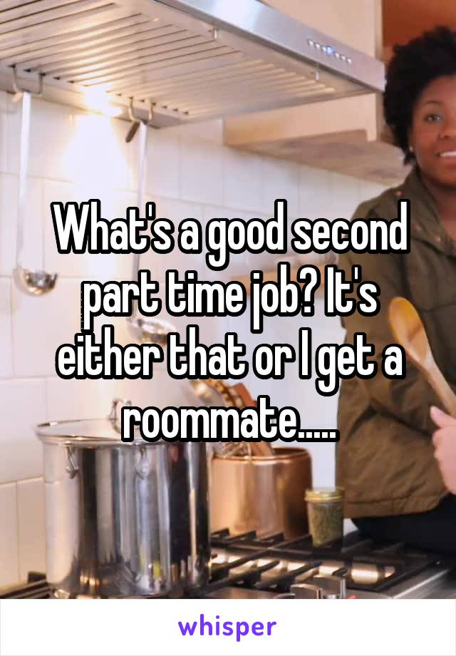 What's a good second part time job? It's either that or I get a roommate.....