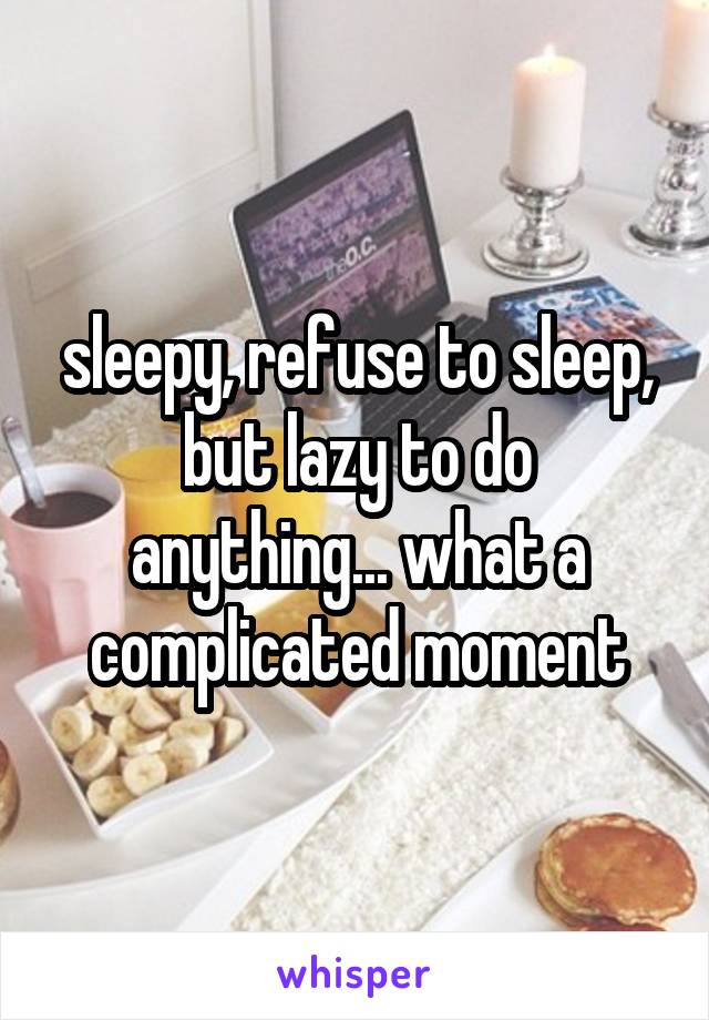 sleepy, refuse to sleep, but lazy to do anything... what a complicated moment