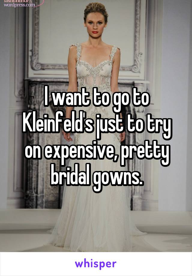 I want to go to Kleinfeld's just to try on expensive, pretty bridal gowns.